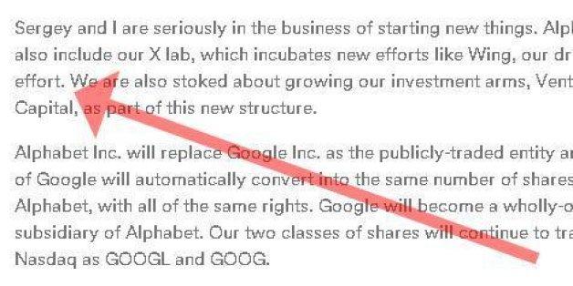 Auf der Website des neuen Alphabet-Konzerns ist eine geheime Botschaft versteckt