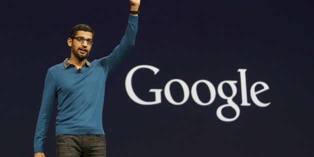 Sundar Pichai, senior vice president of Android, Chrome and Apps, waves after speaking during the Google I/O 2015 keynote presentation in San Francisco, Thursday, May 28, 2015. (AP Photo/Jeff Chiu)