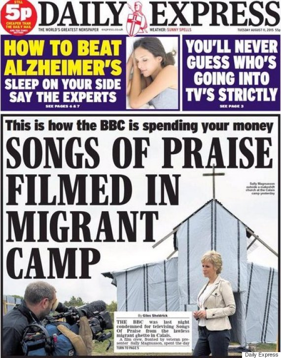 daily express front page migrants bbc