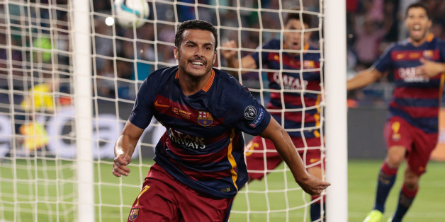 Barcelona's Pedro Rodriguezcelebrates after scoring his side's 5th goal during the UEFA Super Cup soccer match between FC Barcelona and Sevilla FC at the Boris Paichadze Dinamo Arena stadium, in Tbilisi, Georgia, on Wednesday, Aug. 12, 2015. (AP Photo/Ivan Sekretarev)