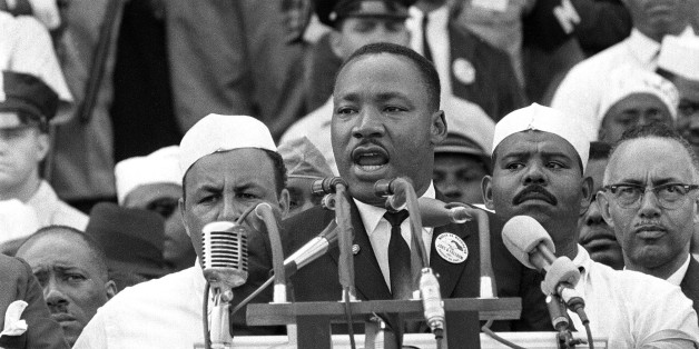 """In this Aug. 28, 1963 photo, The Rev. Dr. Martin Luther King Jr., head of the Southern Christian Leadership Conference, gestures during his """"I Have a Dream"""" speech as he addresses thousands of civil rights supporters gathered in Washington, D.C. onths before the Rev. Martin Luther King Jr. delivered his famous """"I Have a Dream"""" speech to hundreds of thousands of people gathered in Washington in 1963, he fine-tuned his civil rights message before a much smaller audience in North Carolina"""