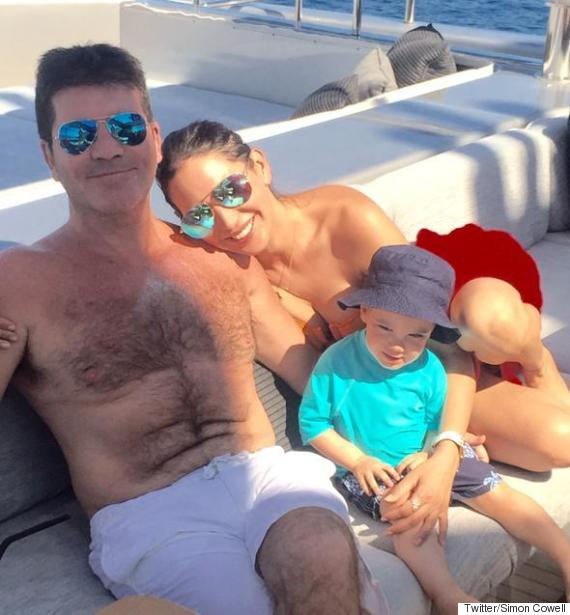 simon cowell holiday photo