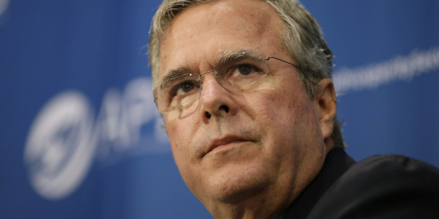 Republican presidential candidate former Florida Gov. Jeb Bush speaks during a forum sponsored by Americans for Peace, Prosperity and Security, Thursday, Aug. 13, 2015, at St. Ambrose University in Davenport, Iowa. (AP Photo/Charlie Neibergall)