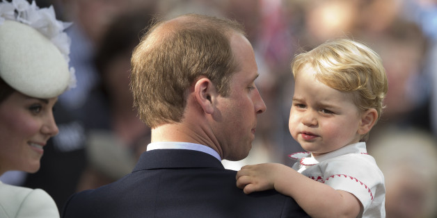 FILE - In this Sunday, July 5, 2015 file photo, Britain's Prince William, Kate the Duchess of Cambridge and their son Prince George  leave after their daughter Princess Charlotte's Christening at St. Mary Magdalene Church in Sandringham, England.  Britain's royals on Wednesday July 22 ,2015 celebrate the second birthday of George, the first child of Prince William and his wife, Kate.   (AP Photo/Matt Dunham, file)