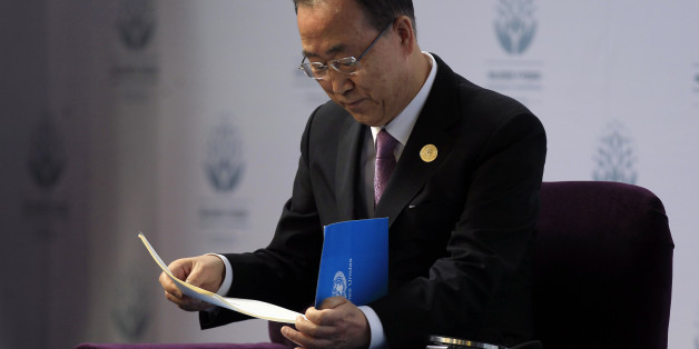 United Nations Secretary-General Ban Ki-Moon attends a conference organized by UN Women in Santiago, Chile, Friday, Feb. 27, 2015. (AP Photo/Luis Hidalgo)