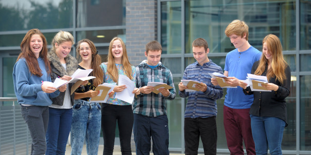 (left to right) Minnie and Tallulah Crawley, Florence and Dorothy Hislop, George and Sam Price and Marcus and Charlotte Hook, open their GCSE results at St Mary Redcliffe and Temple in Bristol.