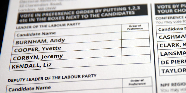 LONDON, ENGLAND - AUGUST 19:  A Labour Party leadership ballot paper is displayed on August 19, 2015 in London, England. Labour Party members are due to vote in the Party leadership contest with results announced on the 12 September. Left-wing candidate Jeremy Corbyn widely expected to win.  (Photo by Carl Court/Getty Images)