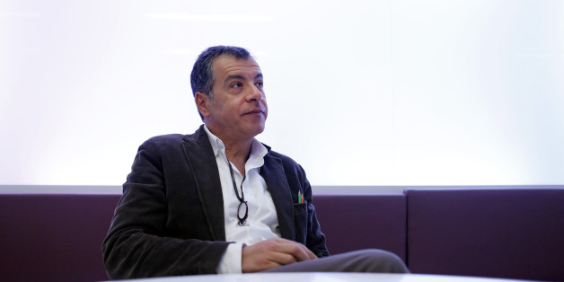 Stavros Theodorakis, leader of the To Potami party, pauses during a Bloomberg interview in Athens, Greece, on Thursday, Jan. 8, 2015. Greek Prime Minister Antonis Samaras's effort to overhaul opposition Syriza party's lead before elections in less than three weeks is running out of steam, polls show. Photographer: Kostas Tsironis/Bloomberg via Getty Images