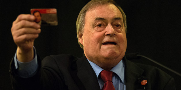 LONDON, ENGLAND - AUGUST 24:  Labour peer John Prescott shows his Labour membership card as he speaks ahead of a campaign address by Andy Burnham at a Labour leadership campaign rally on August 24, 2015 in London, England. Candidates are continuing to campaign for Labour party leadership with polls continuing to place left-winger Jeremy Corbyn in the lead. Voting is due to begin on the 14th of August with the result being announced on the 12th of September.  (Photo by Carl Court/Getty Images)