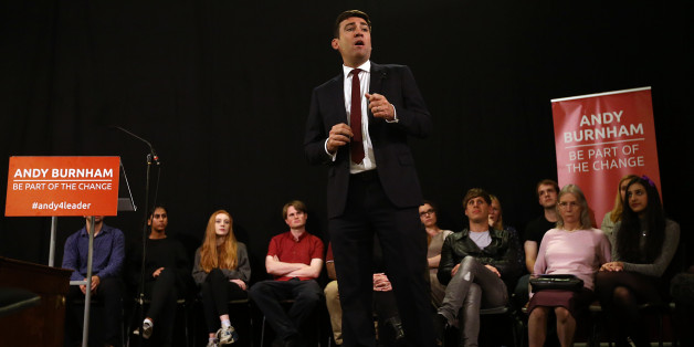 LONDON, ENGLAND - AUGUST 24:  Andy Burnham speaks to supporters at a Labour leadership campaign rally on August 24, 2015 in London, England. Candidates are continuing to campaign for Labour party leadership with polls continuing to place left-winger Jeremy Corbyn in the lead. Voting is due to begin on the 14th of August with the result being announced on the 12th of September.  (Photo by Carl Court/Getty Images)