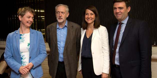 STEVENAGE, ENGLAND - AUGUST 25: Labour leadership candidates (L-R) Yvette Cooper, Jeremy Corbyn, Liz Kendall and Andy Burnham pose for a photograph ahead of a radio hustings on August 25, 2015 in Stevenage, England. Candidates are continuing to campaign for Labour party leadership with polls placing left-winger Jeremy Corbyn in the lead. Voting is due to begin on the 14th of August with the result being announced on the 12th of September.  (Photo by Carl Court/Getty Images)