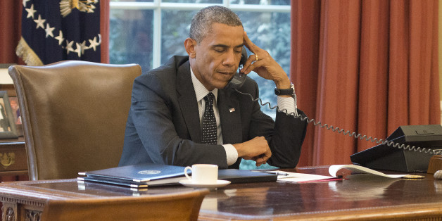 US-Präsident Barack Obama am Telefon