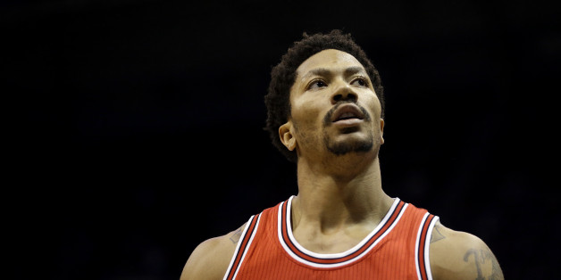 Chicago Bulls' Derrick Rose looks away during Game 4 of an NBA basketball first-round playoff series against the Milwaukee Bucks Saturday, April 25, 2015, in Milwaukee.