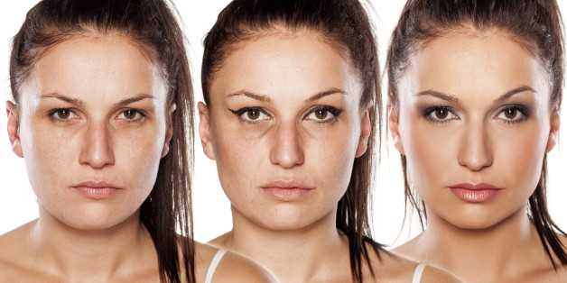 woman without , with wrong makeup and with right makeup