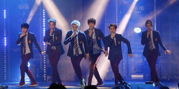 Members of South Korean-Chinese boy band EXO perform at the MTV World Stage Live in Malaysia, in Petaling Jaya, near Kuala Lumpur, Malaysia, Sunday, Sept. 8, 2013. (AP Photo/Lai Seng Sin)