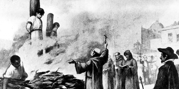 (GERMANY OUT) Mexico Inquisition Inquisition in Mexico - burning at a stake - painting - 1574 (Photo by ullstein bild/ullstein bild via Getty Images)