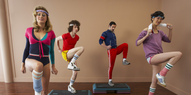 People in 1970's Clothing Exercising