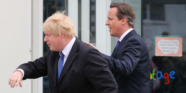 Prime Minister David Cameron and Mayor of London Boris Johnson leave following a General Election campaign visit to Advantage Children's Day Nursery in Surbiton, Surrey.