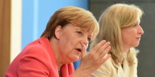 La chancelière allemande Angela Merkel, lors d'une conférence de presse à Berlin le 31 août 2015