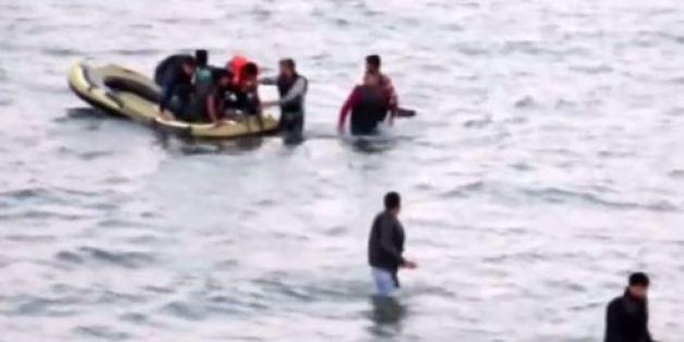 Des images de la même opération de sauvetage sur la plage turque de Bodrum