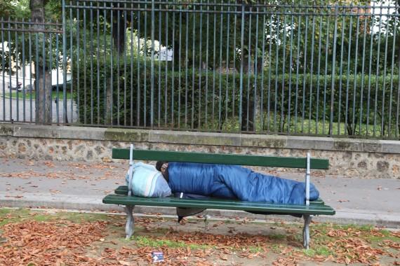 homeless sleeping bench