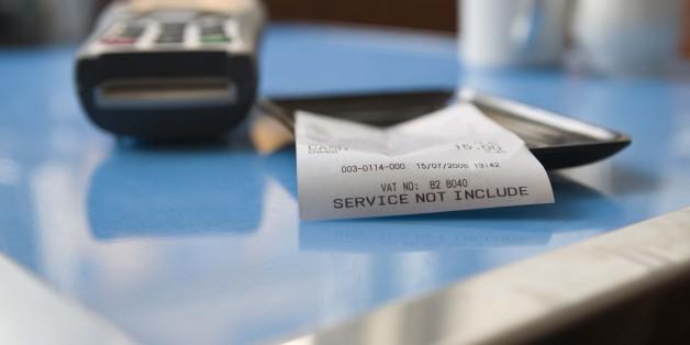 Close-up of restaurant bill