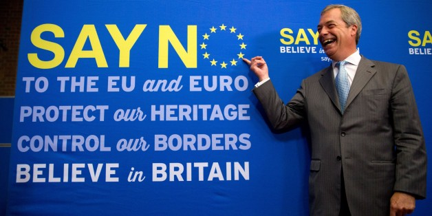 UK Independence Party (UKIP) leader Nigel Farage poses for a photograph following a press conference in London on July 30, 2015, where he set out the party's vision for a 'No' vote in an referendum on EU membership that Britain's Prime Minister David Cameron has promised to hold before the end of 2017.    AFP PHOTO/JUSTIN TALLIS        (Photo credit should read JUSTIN TALLIS/AFP/Getty Images)
