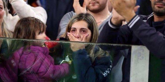 Luana auf der Tribüne bei einem Match von A.S. Roma