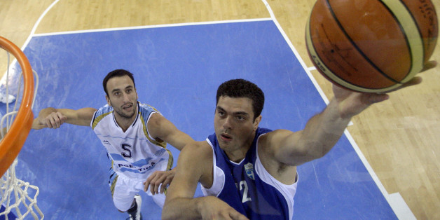 Greece's Konstantinos Tsartsaris, right, shoots as Argentina's Manu Ginobili defends during their men's quarterfinal  basketball game at the Beijing 2008 Olympics in Beijing, Wednesday, Aug. 20, 2008.  (AP Photo/Eric Gay, pool)
