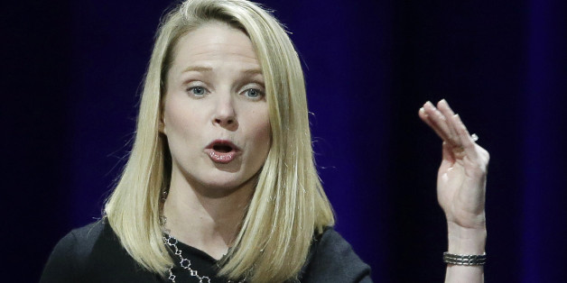 In this Feb. 19, 2015 photo, Yahoo President and CEO Marissa Mayer delivers the keynote address at the first-ever Yahoo Mobile Developer's Conference, in San Francisco. Mayer was the highest paid female CEO in 2014, according to a study carried out by executive compensation data firm Equilar and The Associated Press. (AP Photo/Eric Risberg)