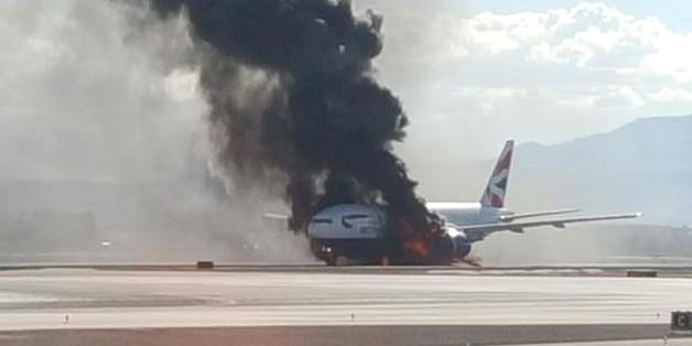 Eine Flugzeug der British Airways fing in Las Vegas Feuer