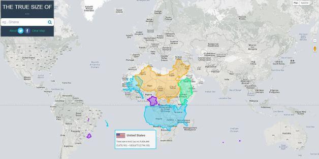 """Cette carte du monde permet de représenter les pays dans leur """"vraie"""" taille"""