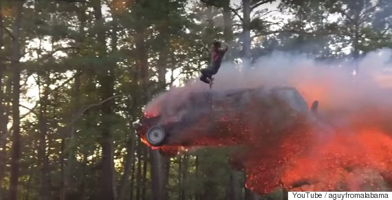 jumping out of a car