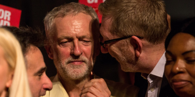 LONDON, ENGLAND - SEPTEMBER 10:  Len McCluskey (R), General Secretary of Unite, speaks to Jeremy Corbyn (L), MP for Islington North and candidate in the Labour Party leadership election, after a campaign event at the Rock Tower on September 19, 2015 in London, England.  Voting closed in the Labour Party leadership contest with the results of which due to be announced on September 12.  (Photo by Rob Stothard/Getty Images)