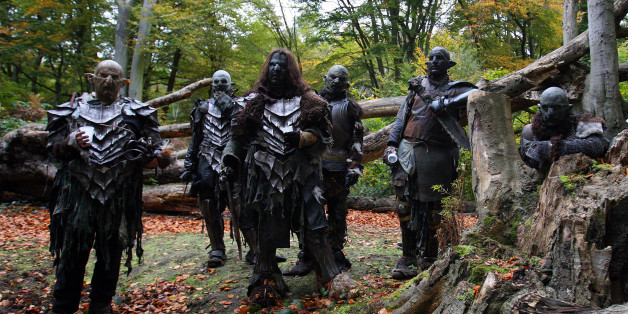LONDON - OCTOBER 25:  Orcs take a rest from filming in Epping Forest for a new chapter based on the epic trilogy, 'The Lord Of The Rings' on October 25, 2008 in London, England. The short internet based film/drama 'Born Of Hope' is inspired by paragraphs written by J.R.R Tolkien in the appendices of his trilogy the Lord of the Rings, and can be found at http://www.bornofhope.com. (Photo by Dan Kitwood/Getty Images)