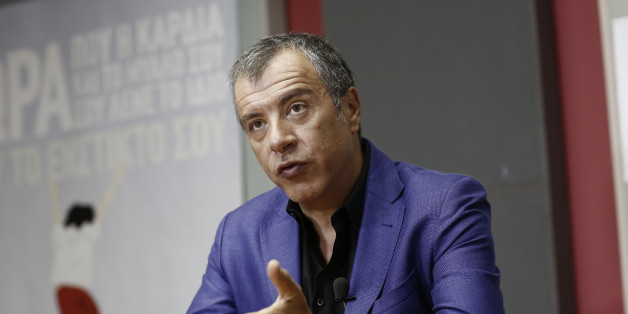 Stavros Theodorakis, leader of the To Potami party, speaks during a Bloomberg Television interview in Athens, Greece, on Thursday, Aug. 27, 2015. Former Greek Prime Minister Alexis Tsipras's refusal to cooperate with pro-European parties after next month's ballot may complicate the formation of a government and force voters back to the ballots, River party leader Theodorakis said. Photographer: Kostas Tsironis/Bloomberg via Getty Images