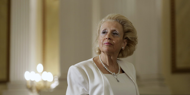 Vassiliki Thanou, 65, stands during a swearing in ceremony at the Presidential Palace in Athens, Thursday, Aug. 27, 2015, to become Greece's first female prime minister. Greece came one step closer on Thursday to early elections with President Prokopis Pavlopoulos appointing the head of the country's Supreme Court as caretaker prime minister to lead the country to next month's polls.(AP Photo/Petros Giannakouris)