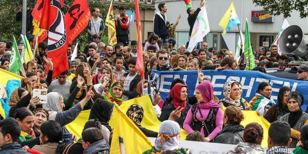 Eine Demonstration von Kurden in Hannover