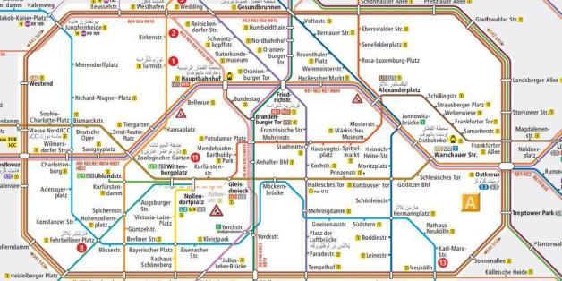 Réfugiés: la carte du métro de Berlin traduite en arabe