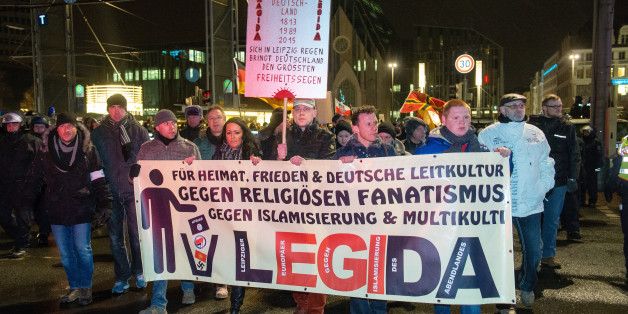 Eine Legida-Demonstration im Februar 2015 in Leipzig