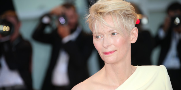 Tilda Swinton poses for photographers at the premiere of the film A Bigger Splash during the 72nd edition of the Venice Film Festival in Venice, Italy, Sunday, Sept. 6, 2015. The 72nd edition of the festival runs until Sept. 12. (Photo by Joel Ryan/Invision/AP)