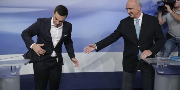 Alexis Tsipras und Evangelos Meimarakis beim TV-Duell