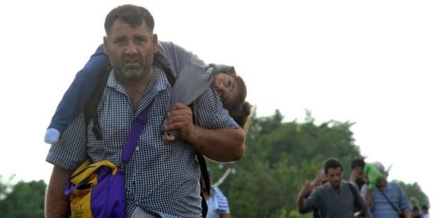 Des réfugiés le 14 septembre 2015 à Horgos en Serbie à la frontière avec la Hongrie  © AFP STR, ELVIS BARUKCIC