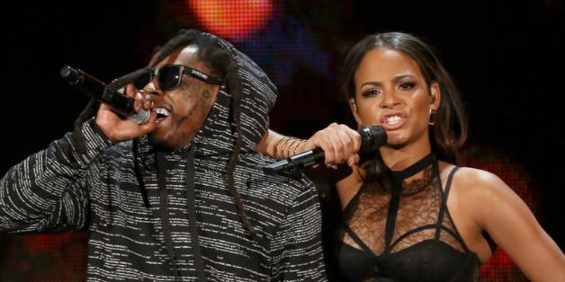 Lil Wayne und Christina Milian im November 2014 gemeinsam auf der Bühne bei den American Music Awards