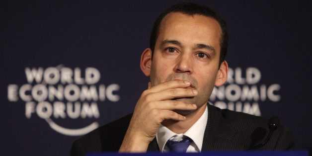 Tunisia's Minister for Infrastructure and Transport Yassine Brahim pauses before answering questions during a media conference regarding recent events in Tunisia at the World Economic Forum in Davos, Switzerland on Saturday, Jan. 29, 2011. (AP Photo/Virginia Mayo)
