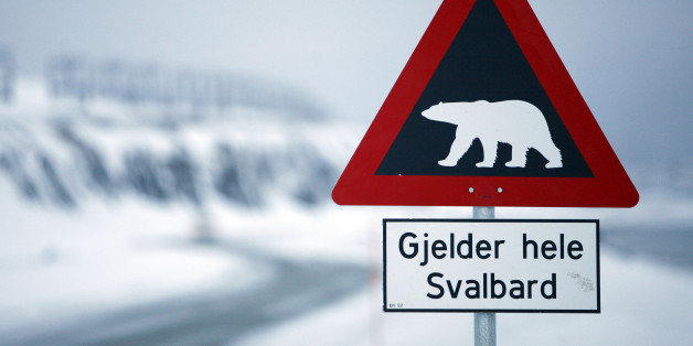 A sign warning of polar bears is seen Feb. 25, 2008 outside of Longyearbyen, Norway on the Arctic archipelago of Svalbard, as far north as you can fly on a scheduled flight. At about 78 degrees north latitude, it is less than 1,000 kilometers (620 miles) from the North Pole. (AP Photo/John McConnico)