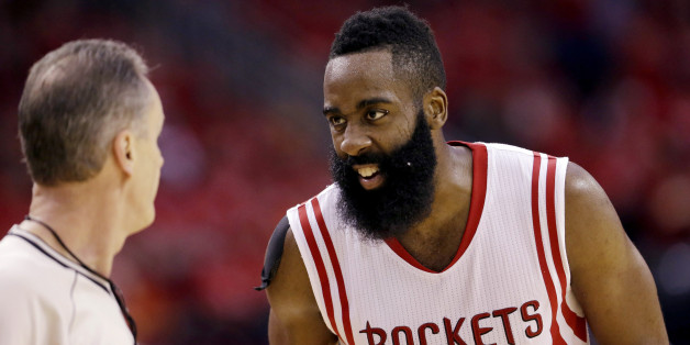 Houston Rockets guard James Harden (13) talks with an official during the second half in Game 4 of the NBA basketball Western Conference finals against the Golden State Warriors Monday, May 25, 2015, in Houston. (AP Photo/David J. Phillip)