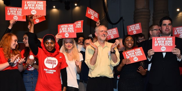 British Labour Party Leadership contender Jeremy Corbyn (C) poses for pictures with supporters after addressing a rally at the Rock Tower in north London on September 10, 2015. Voting closed in the leadership contest for Britain's main opposition Labour party on Thursday after a campaign dominated by the shock popularity of radical left candidate Jeremy Corbyn, who looks set to win. AFP PHOTO / BEN STANSALL        (Photo credit should read BEN STANSALL/AFP/Getty Images)