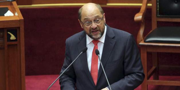 European Parliament President Martin Schulz speaks to the Albanian Parliament calling on authorities to speed upv their judiciary reforms, increase the fight against organized crime and corruption in their path toward joining the European Union one day, Tirana, Tuesday, July 14, 2015. (AP Photo/Hektor Pustina)