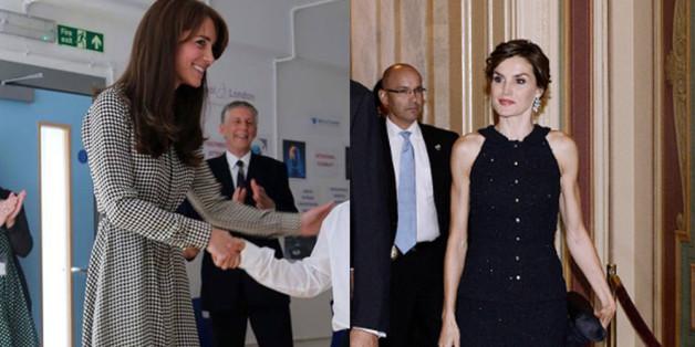 Lächeln, lächeln, lächeln: Aber was verbirgt sich hinter der dünnen Fassade von Herzogin Kate und Königin Letizia von Spanien (re.)?
